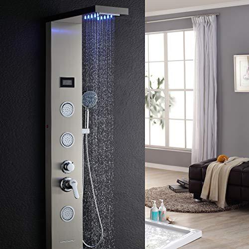 Auralum Edelstahl Duschpaneel LED Temperatur Bildschirm mit Handbrause...