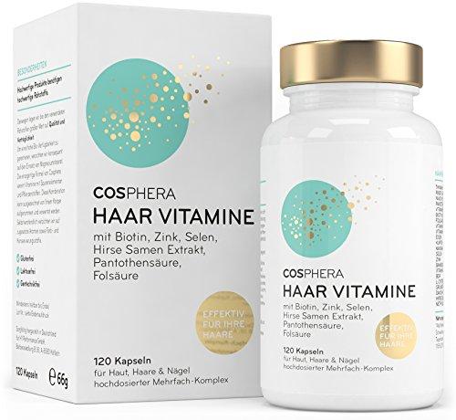 Cosphera Haar-Vitamine - Hochdosiert mit Biotin, Selen, Zink, Folsäure, Hirse...
