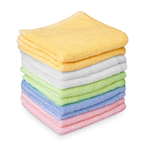 HBselect 10er Baby Waschlappen weiche Handtücher Waschtücher 5 Farben mit je 2...
