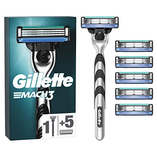 Gillette Mach3 Nassrasierer Herren, Rasierer + 6 Rasierklingen mit 3-fach Klinge
