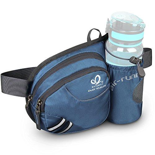 WATERFLY Taille Tasche mit Flaschenhalter Damen und Herren, Atmungsaktiv...