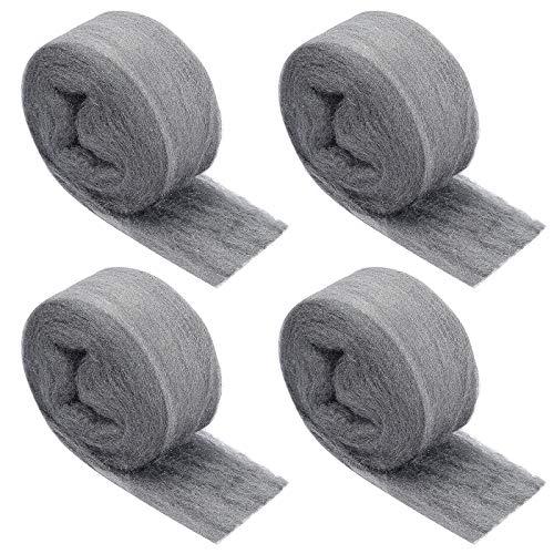 4 Stück Stahlwolle, Bolatus Stahlwolle Fein 0000 Grade Metall Polieren Stahl...