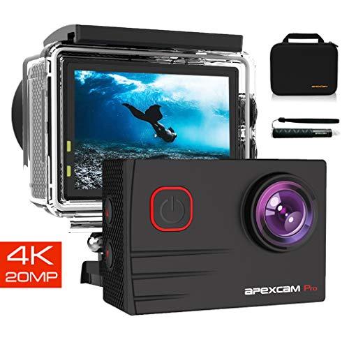 Apexcam Pro Action Cam 4K 20MP Sportkamera WiFi Unterwasserkamera 2.4G...