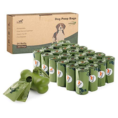 Toozey 360 Hundekotbeutel Biologisch Abbaubar mit Beutelspender, Auslaufsicher &...