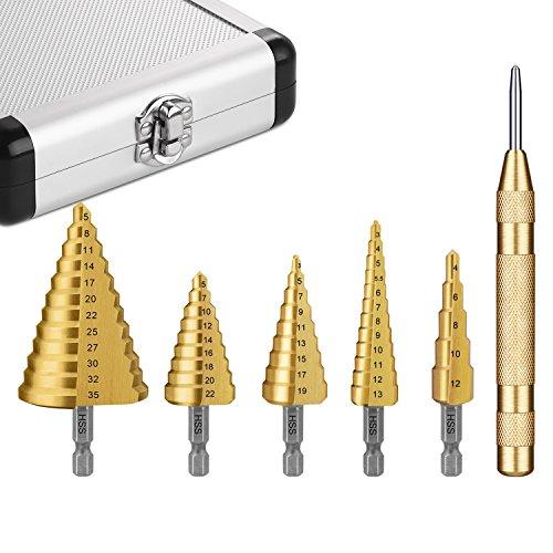 TACKLIFE, Stufenbohrer, 5 tlg. Kegelbohrer 4-12mm /3-19mm /3-13mm /5-22mm...