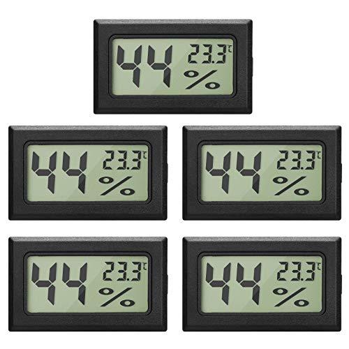 5-Pack LCD Digital Hygrometer Thermometer, Mini Digital Temperaturmesser...
