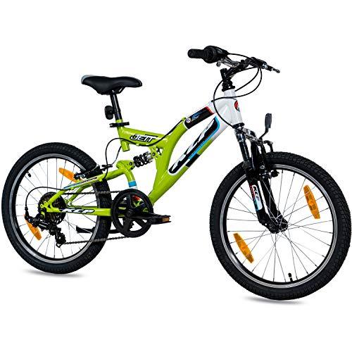 KCP 20 Zoll Mountainbike Kinderfahrrad - JETT FSF weiss grün - Vollfederung...