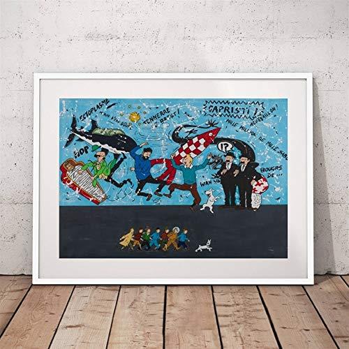 HNTHBZ Die Abenteuer von Tim und Struppi Wall Art Poster Malerei Tintin...