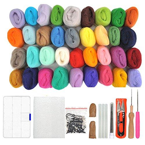 WOWOSS 36 Farben Filzwolle Set mit Filzwolle Werkzeug, Nadelfilz Wolle Set...