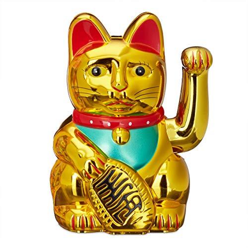 Relaxdays Maneki Neko Winkekatze, Glücksbringer, 16 cm, gold
