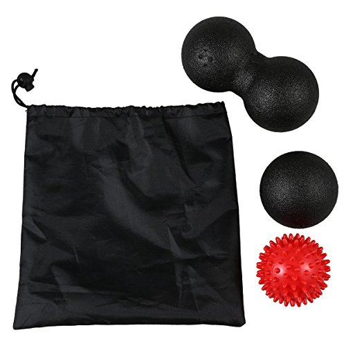 Gaoominy Massage-Ball-Set 1 Lacrosse-Ball + 1 Paar-Lacrosse-Ball + 1 Spiky-Ball...
