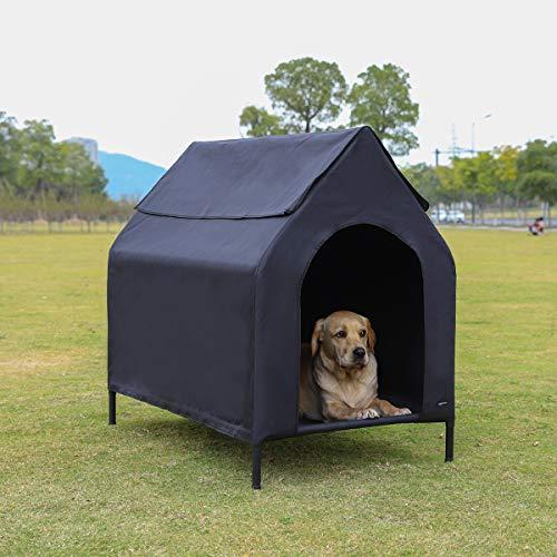 AmazonBasics Erhöhte, tragbare Haustier-Hütte, Größe M, Schwarz