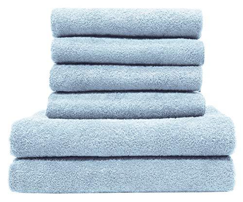 ZOLLNER Set aus 4 Handtüchern und 2 Duschtüchern aus Baumwolle, hellblau