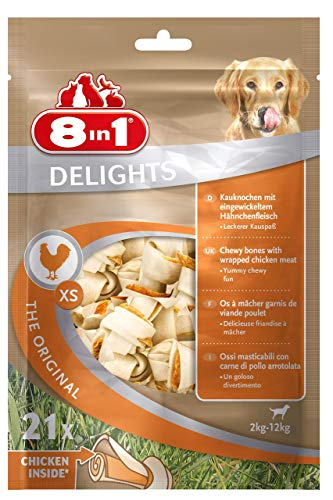 8in1 Delights Chicken Kauknochen XS, gesunder Kausnack für sehr kleine Hunde,...
