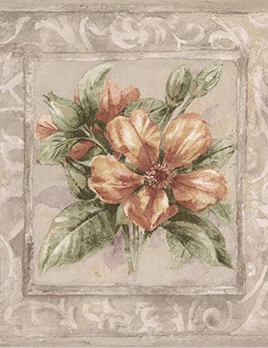 Norwall Rot gelb lila Flower Bouquets Beige Tapete Grenze Retro-Design, gerahmt...