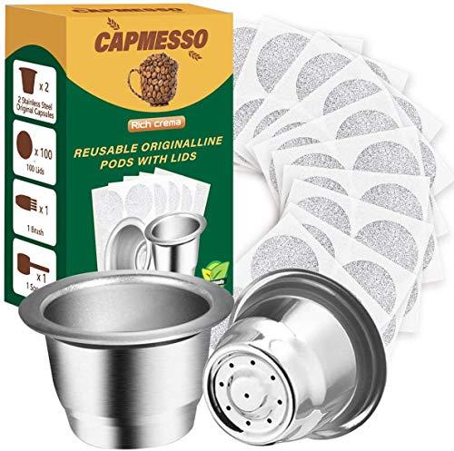 CAPMESSO Wiederverwendbare Espresso kapseln Nachfüllbare Kaffeekapseln...