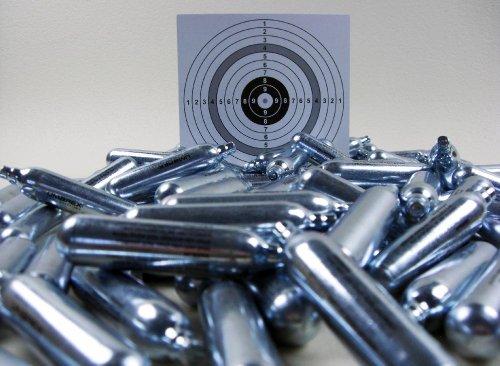 Set: 50 Softair, Airsoft Marken Co2 Kapseln 12g für Co2 Waffen + 10 ShoXx.®...