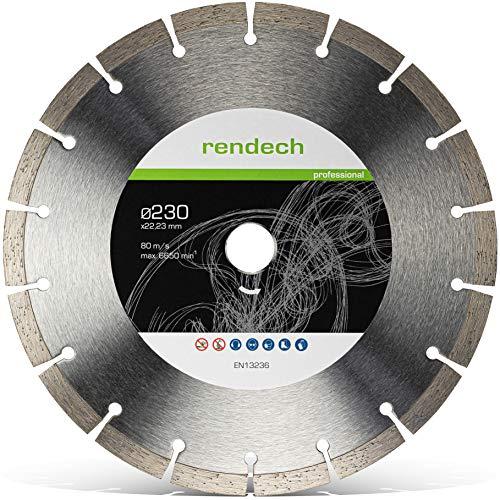 Rendech Diamantscheibe 230mm - Profi Qualität geeignet für Beton, Granit,...