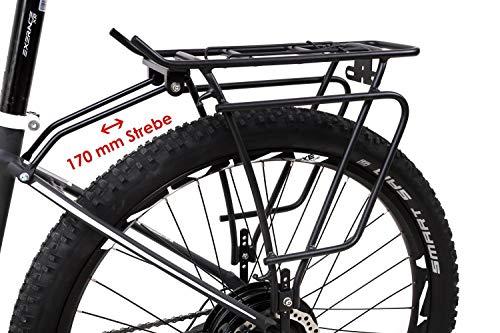 Fahrrad Alu Gepäckträger 26-29 Zoll Universal verstellbar Federklappe schwarz