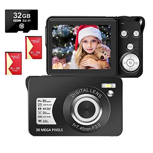 LongOu Digitalkamera 2,7 Zoll 1080P 30 Megapixel HD Fotoapparat Digitalkamera...
