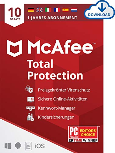 McAfee Total Protection 2021   10 Geräte   1 Jahr  Antivirus Software,...