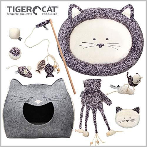 Tiger Cat Katzen Premium Starterset 12 Hochwertige Teile, Katzenhöhle...