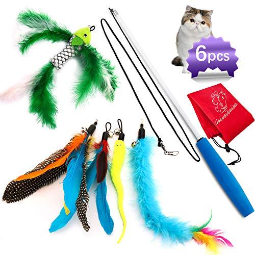 GaiusiKaisa Katzenangel 5 in 1, Katzenspielzeug Set, Spielangel Katze mit...