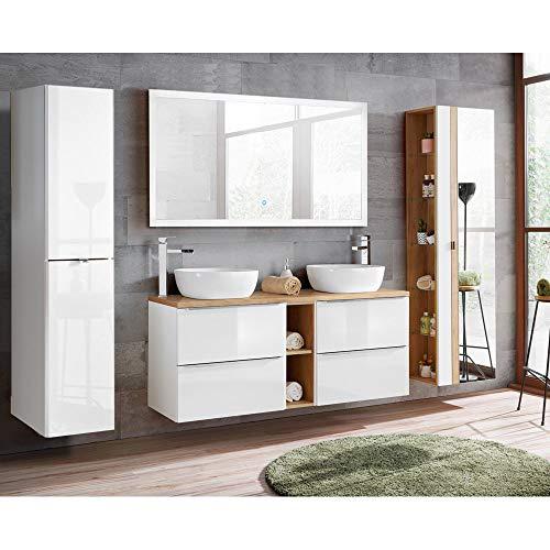 Lomadox Badezimmer Set weiß Hochglanz mit Keramik-Doppel-Waschtisch TOSKANA-56...