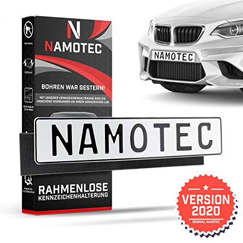 Namotec Kennzeichenhalter Rahmenlos Klett [kein Schrauben nötig] Selbstklebende...