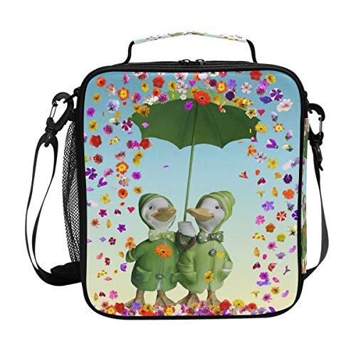Isolierte Lunchtasche mit niedlichen Gänseblümchen und Schulterriemen, für...