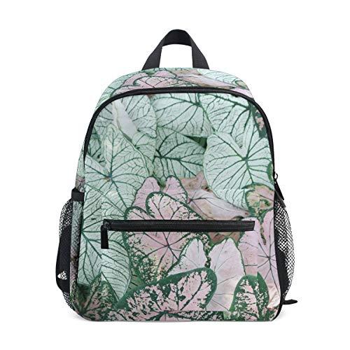Kleine Schultasche mit Blättern und botanischen Pflanzen, Rucksack für...