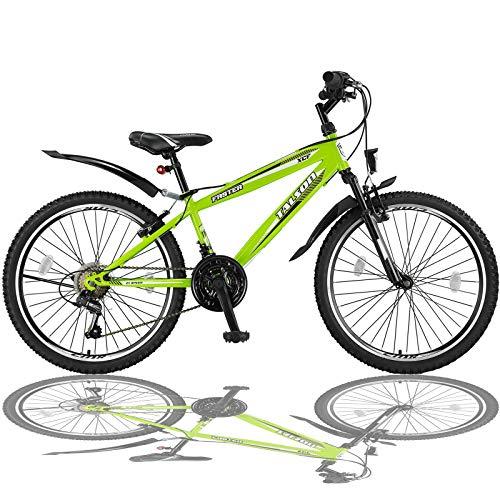 Talson 26 Zoll Mountainbike Fahrrad mit Gabelfederung und Beleuchtung mit...