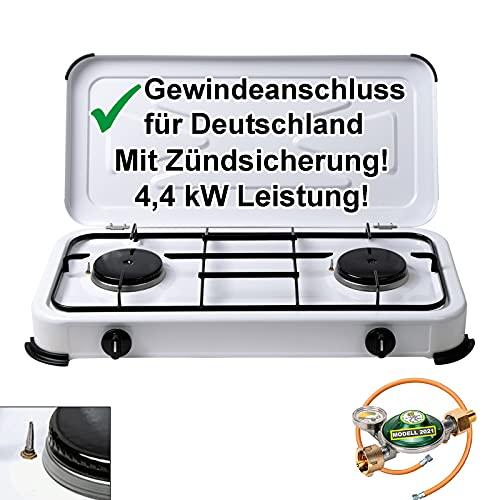 CAGO Campingkocher Gaskocher 2 flammig mit Zündsicherung inkl. Gasschlauch und...