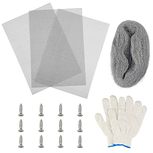 1 Stk. Stahlwolle-Mäuse-Füllstoff und 3 Stk. gewebtes Drahtgeflecht 304...