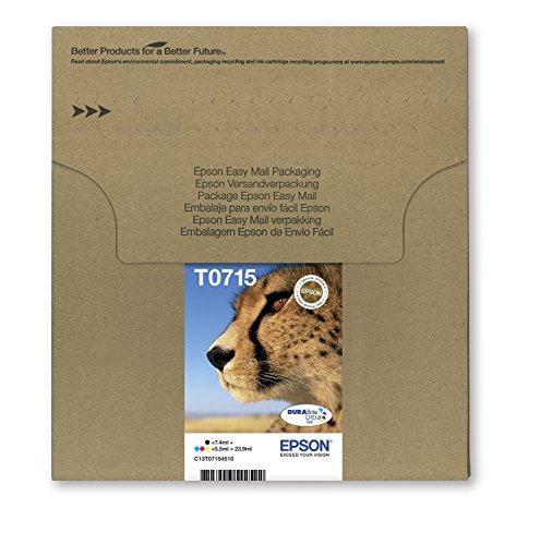 Epson Original T0715 Tinte Gepard, wisch- und wasserfeste (Multipack, 4-farbig)...