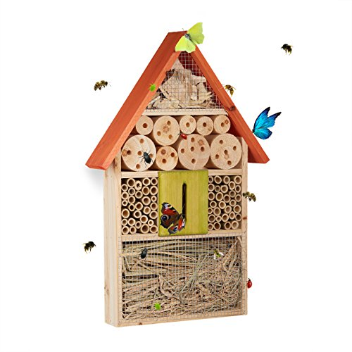Relaxdays Insektenhotel für Schmetterlinge, Käfer, Bienenhaus zum Aufhängen,...