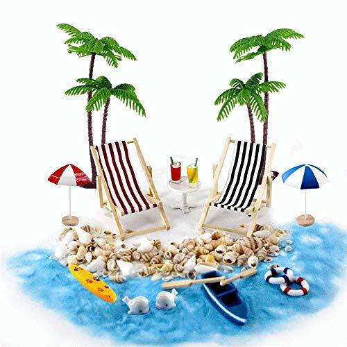 Gallop Chic Strand-Mikrolandschaft Miniliegestuhl Strandkorb Sonnenschirm Kleine...
