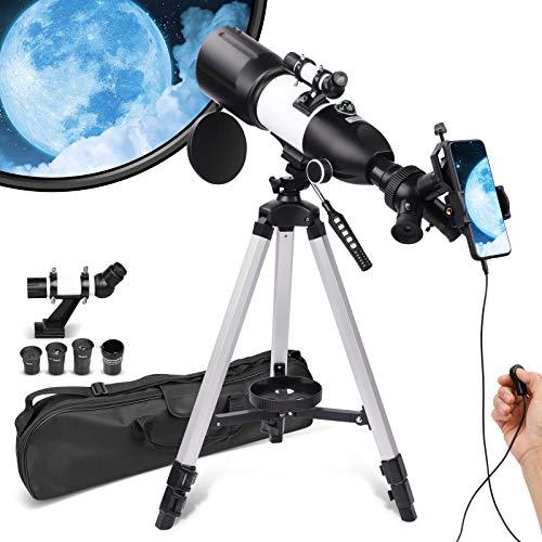 Teleskop für Erwachsene und Kinder, Anfänger, 80 mm Blende, 400 mm Halterung,...