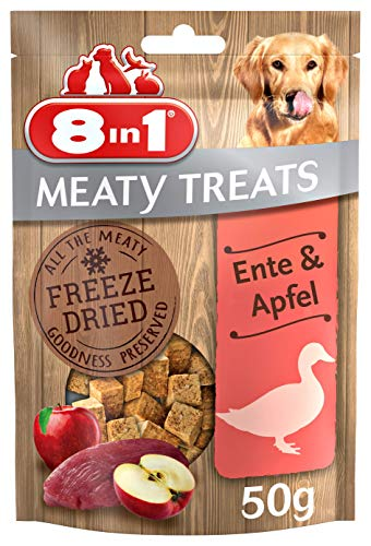 8in1 Meaty Treats, gefriergetrocknete Hunde Leckerlis mit Ente & Apfel,...