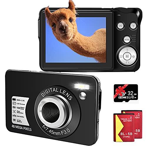 Digitalkamera 48MP, Full HD 2,7K Fotoapparat Digitalkamera mit 16X Digitalzoom...