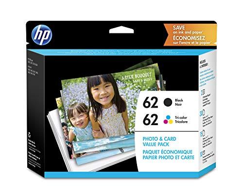 HP 62schwarz & dreifarbig Original Tintenpatronen mit Foto Papier, 2Pack...
