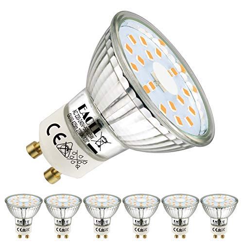 EACLL GU10 LED Warmweiss 5W Ersetzt 50W Halogen Leuchtmittel, 6er-Pack. 2700K...