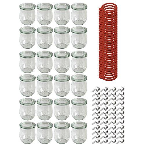 Weck 24 Stück Rundrandglas 220 ml Tulpenform Einmachglas Einweckglas