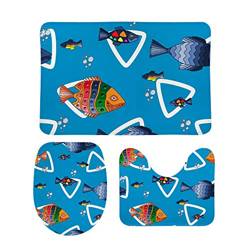 PICKIDS Badezimmerteppich, mehrfarbig, Meeresfisch und Blasen, Fußmatte,...