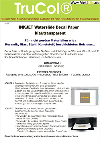 5 Blatt Inkjet Tintenstrahl Wasserschiebefolie Decal Papier Transfer Folie DIN...