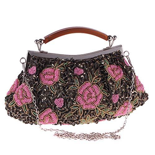 LUGUMU Damen Clutch,Handwerk Perlen Tasche Abendtasche Handtasche Damentasche...