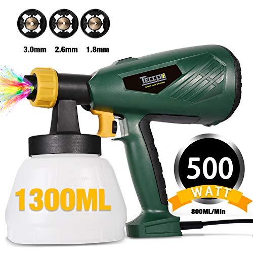 Farbsprühsystem, TECCPO 500W HVLP Elektrische Spritzpistole, 800ml/min, 1300 ml...