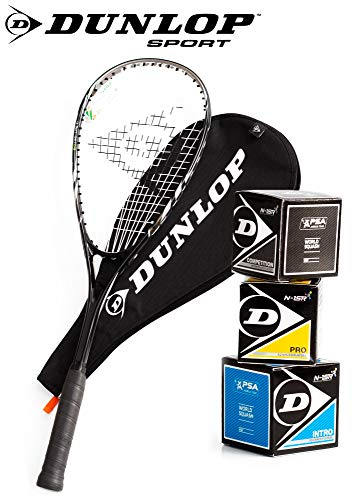 _Dunlop Squashset: Squashschläger BIOTEC LITE TI Silver Deluxe (1x Silver...