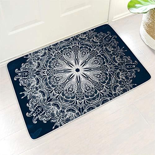 Homedb Dunkelblaues Schmetterling Mandala 3D Print Fußmatte Fussmatte...