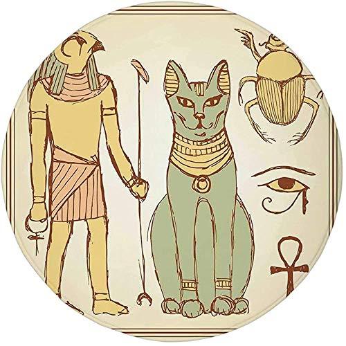 W-WEE Runder Teppich-Matten-Teppich, ägyptisch, Grafik der Alten ägyptischen...